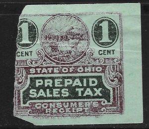 US 1c State of Ohio Prepaid Sales Tax