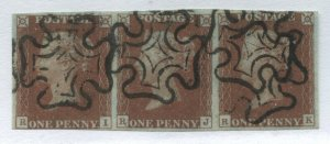 1841 Penny Red Plate 21 RI-RK lovely strip of 3 with choice black MX cancels.