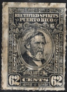 Puerto Rico #RE47 62¢ Rectified Spirits (1942) Used