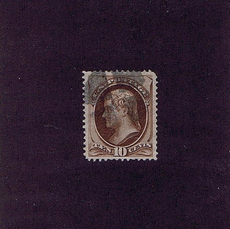 SC# 139 USED 10 CENT JEFFERSON, 1870, CORK CANCEL, GOOD CAT VALUE