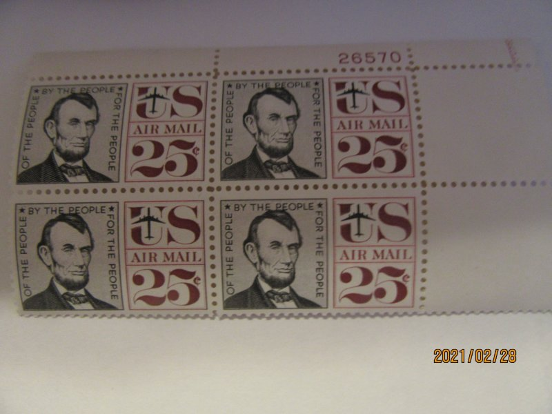 SCOTT C-59 25 CENT ABRAHAM LINCOLN AIRMAIL 1959 OG