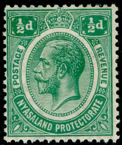NYASALAND PROTECTORATE SG100, ½d green, LH MINT. WMK SCRIPT