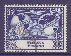 Malaya Penang Scott 24 - SG24, 1949 UPU 15c used