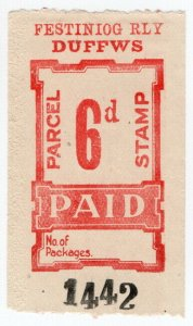 (I.B) Festiniog Railway : Parcel Stamp 6d (Duffws)