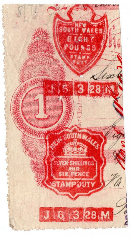 (I.B) Australia - NSW Revenue : Impressed Stamp Duty £8 7/6d