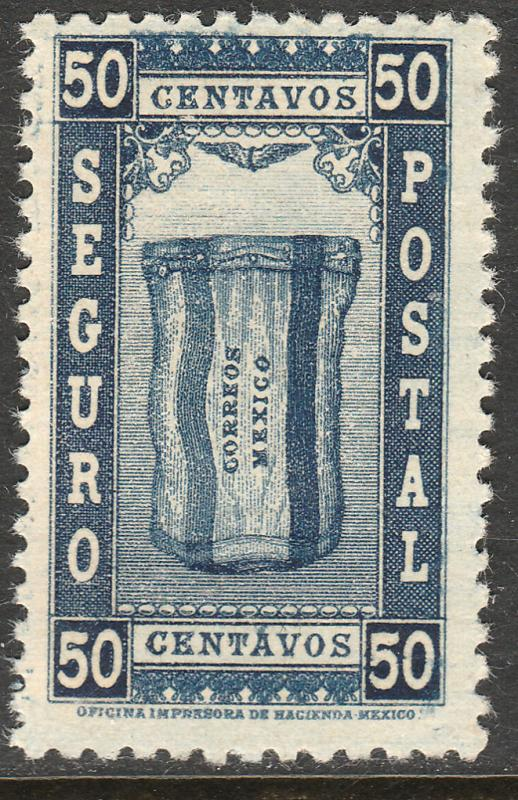 MEXICO G5, 50¢ INSURED LETTER. MINT, NH. F-VF