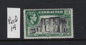 GIBRALTAR SCOTT #114A 1938-49 GEORGE VI- 1SH (GREEN/BLACK)-  PERF 14-MINT NH