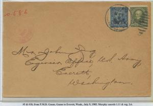 GUAM #5 & 10 ON COVER JULY 9,1905 CV $1,100 BS8436 HS108G