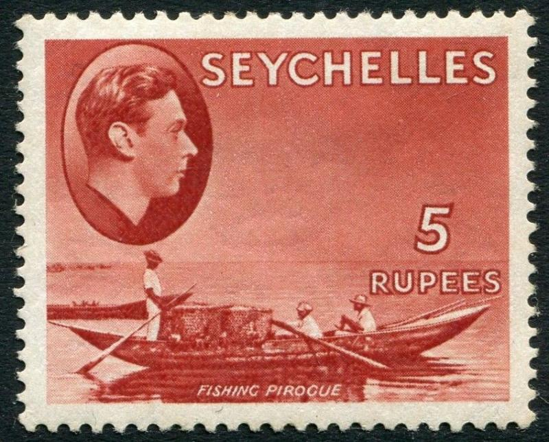 SEYCHELLES-1938 5r Red Sg 149 LIGHTLY MOUNTED MINT V20228