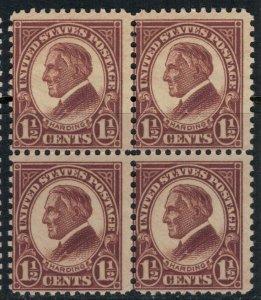 U.S. #633* NH Block of 4  CV $10.40