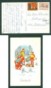 Denmark. Christmas Card 1971. Seal+ 50 Ore. Uncancel. Santas Petting Rabbits.