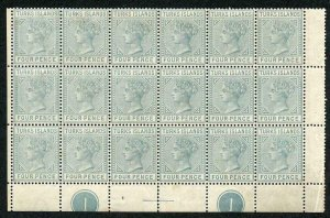 Turks and Caicos SG57 1882-85 4d grey Plate Block of 18 RARE and Impressive Item