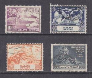 PENANG, MALAYA, 1949 UPU set of 4, used.