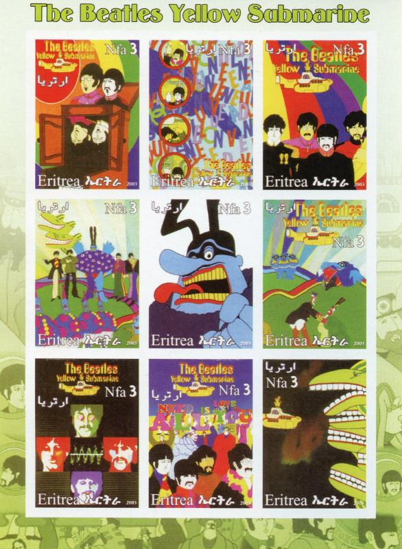 Eritrea 2003 MNH The Beatles Yellow Submarine 9v IMPF M/S I Music Stamps