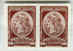 ARGENTINA; 1901 early classic Official PROOF COLOUR TRIAL Mint Imperf pair