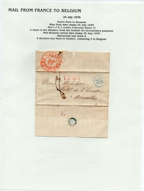 FRANCE Early LETTER/COVER 1835 fine used item Paris - Brussels Belgium