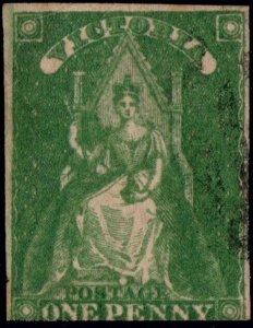 AUSTRALIA / VICTORIA 1857 - SG41 1d yellow-green - see scan