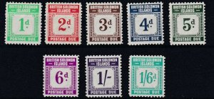 BRITISH SOLOMON ISLANDS  1940  S G D1 - D8  POSTAGE DUE SET OF 8  MH