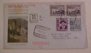 SPAIN  ANDORRA FDC 1951 REGISTERED TO USA  CACHET ADDRESSED