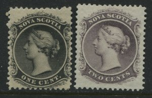 Nova Scotia QV 1860 1 cent and 2 cents unmounted mint NH