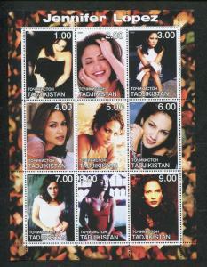 Tajikistan Commemorative Souvenir Stamp Sheet - Actress Jennifer Lopez