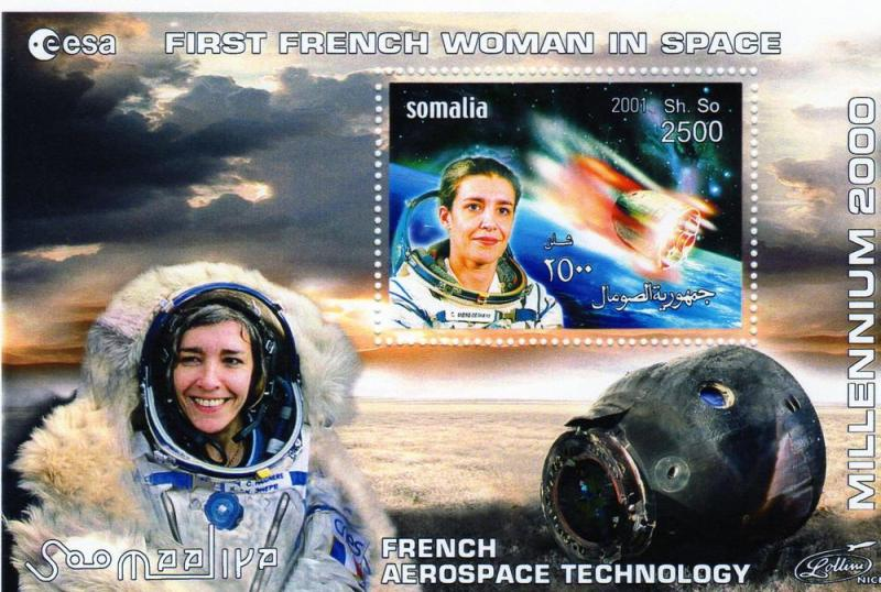 Somalia 2001 First French Woman in Space 4 S/S perforated #SOI 5/8B