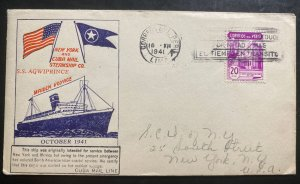 1941 Lima Peru Maiden Voyage First Day Cover To New York USA SS Agwiprince