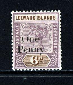 LEEWARD ISLANDS QV 1902 1d. on 6d. Dull Mauve & Brown Surcharge SG 18 MINT