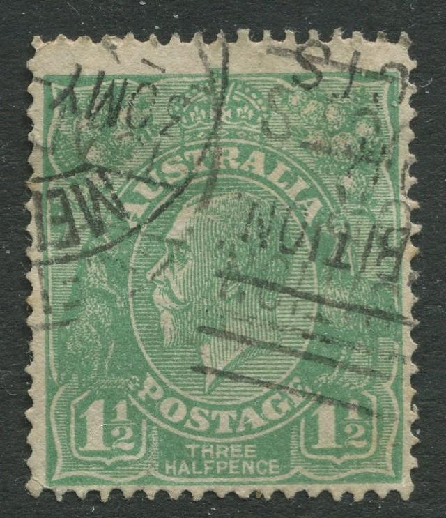 Australia - Scott 25 - KGV Head -1914 - Used - Wmk 9 - 1.1/2p Stamp