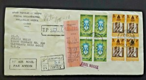 1982 Cairo Egypt To Cleveland OH Airmail Registered Delivery Final Notice Cover