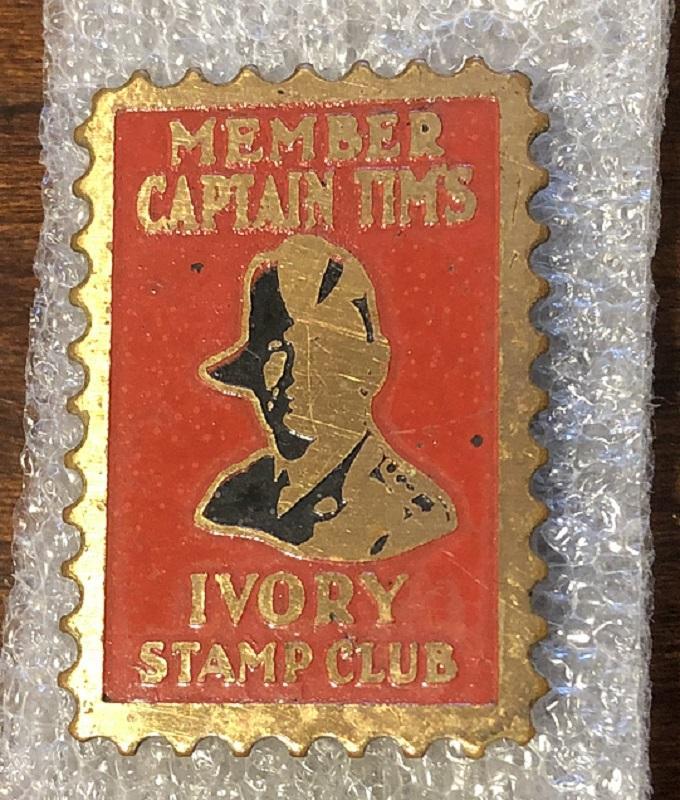 Vintage Captain Tim Healy Ivory Stamp Club Membership Pin
