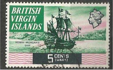 VIRGIN ISLANDS, 1970, used 5c Morgan's ship..  Scott 211