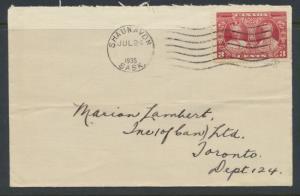 Canada  SG 337  1935 opened envelope note Shaunavon Cancel w/ SG 337