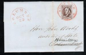 USA #1 Used Fine On Cover With Manuscript Cancel On Top Of Red Cancel