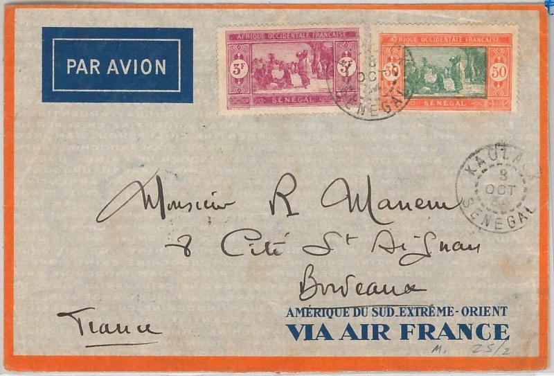 AIR FRANCE - SENEGAL - POSTAL HISTORY: AIRMAIL COVER from KAOLACK to FRANCE 1934