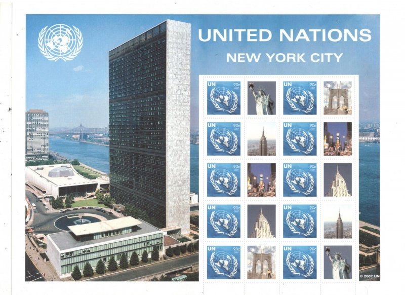 UNITED NATIONS 2007 NEW YORK PERSONALIZED SHEET, NEW YORK