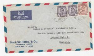 IRAQ, 1952 Airmail cover, 4f.(2) & 40f. Baghdad to GB.