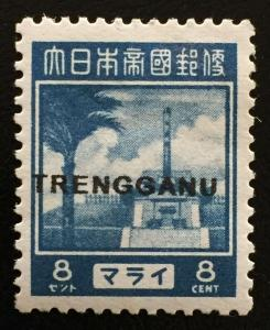 Malaya Japanese Occupation 1943 Pictorial 8c opt TRENGGANU MH SG#TT23 M2261