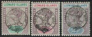 LEEWARD ISLANDS 1897 QV JUBILEE 1/2D 1D AND 21/2D
