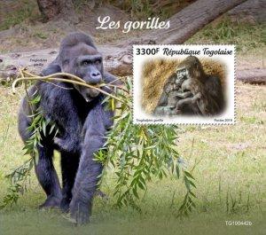 TOGO - 2019 - Gorillas - Perf Souv Sheet  - M N H
