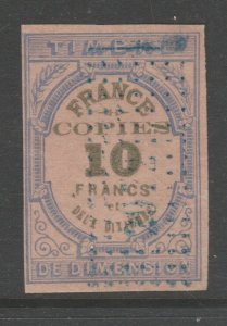 France and Colonies revenue Fiscal stamp 11-18-20--  10Fr
