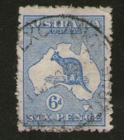 Australia kangarrs 6d 1913 SG 7 FU