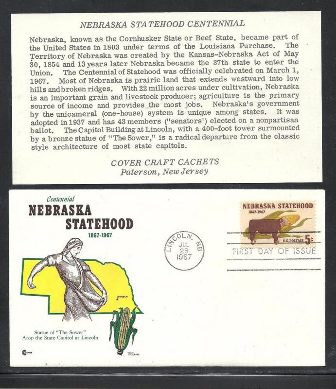 US #1328-13 Nebraska Cover Craft cachet unaddressed