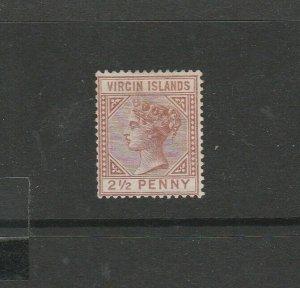 British Virgin Islands 1879/80 Crown CC, 2 1/2d Red Brown, part og, SG 25