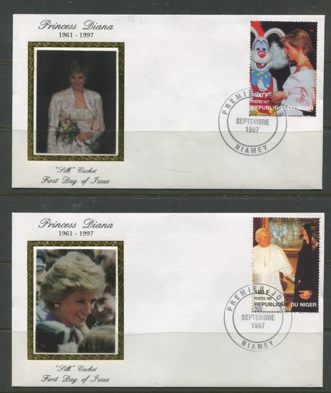 STAMP STATION PERTH Niger #944-947 FDC X 20 Full Set Princess Diana Silk Cachet