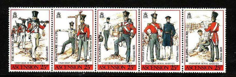 Ascension-Sc#458- id5-unusedNH strip-Military-Uniforms-1988-