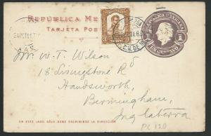 MEXICO 1911 1c postcard used...............................................66205