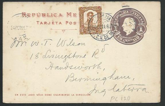 MEXICO 1911 1c postcard used...............................................66205