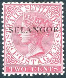 MAYALA SELANGOR-1890 2c Bright Rose.  A mounted mint example g 42