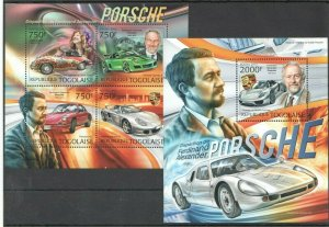 TG806 2012 TOGO TRANSPORT CARS AUTOMOBILES FERDINAND PORSCHE BL+KB MNH